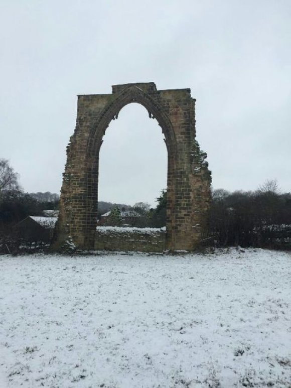 Dale Abbey Arch in the snow
